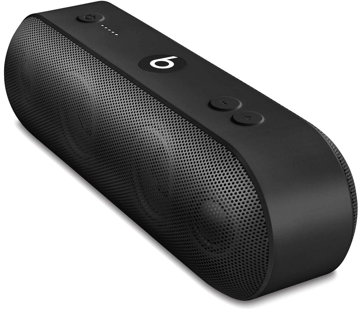 Beats Pill+, Black портативная акустическая системаML4M2ZE/AАкустическая система Beats Pill+ полностью портативна и наполняет комнату богатым и чистым звучанием - удивительно мощным и чётким. Стильный интерфейс Beats Pill+ интуитивно понятен и открывает совершенно новые возможности для совместного прослушивания музыки.Стереосистема с активным двухканальным кроссовером создаёт великолепное звуковое поле с широким динамическим диапазоном и чётким звучанием во всех музыкальных жанрах. В раздельных динамиках высоких и низких частот используется такая же акустическая схема, как в профессиональных студиях звукозаписи по всему миру.Благодаря продуманному дизайну Beats Pill+ звучит так же хорошо, как и выглядит. В его простом и интуитивно понятном интерфейсе нет ничего лишнего, и включить любимую музыку очень легко.Объедините Beats Pill+ в пару с iPhone, MacBook или любым другим устройством Bluetooth, чтобы слушать музыку, смотреть видео и играть в игры с великолепным качеством звука. Или объедините их в пару с Apple Watch для максимального удобства.Beats Pill+ работает 12 часов без подзарядки - слушайте музыку целый день. Нет времени ждать? Зарядите динамик через прилагаемый кабель Lightning и адаптер питания всего за три часа. Индикатор заряда позволяет отслеживать оставшееся время работы аккумулятора.Пусть музыка играет без остановки: заряжайте iPhone или внешнее музыкальное устройство от динамика Beats Pill+.Загрузите приложение Beats Pill+ из App Store, чтобы разблокировать функции, которые помогут вам с друзьями погрузиться в яркий мир музыки. Подключите второй динамик и слушайте музыку совершенно по-новому. Получайте программные обновления и обращайтесь за технической поддержкой в приложении.