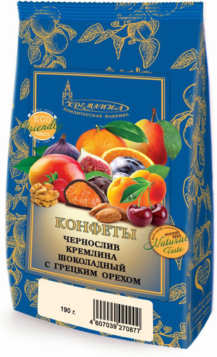 Кремлина Чернослив в шоколаде с грецким орехом, 190 г4607039270877Натуральные продукты - сухофрукты, цукаты и орехи - являются одним из самых древнейших полезных лакомств. В них содержатся в различных комбинациях витамины: A, B1, B2, B5, B6, C, PP, E, H; макро- и микроэлементы: фосфор, фтор, алюминий, селен, кобальт, цинк, железо, кальций, калий, магний, йод, марганец, медь, натрий; клетчатка, пектин; ненасыщенные жирные кислоты. Наличие этого богатства элементов делает их ценными и незаменимыми для работы нашего организма, способствует пополнению энергией, дает заряд бодрости, улучшает работу мозга, сердца и сосудов. Орехи - прекрасный природный антиоксидант.Яркий натуральный вкус конфет даст вам возможность почувствовать теплые лучики французского солнца, под которым нежились спелые сливы и грецкие орехи, а также даст заряд бодрости и запас витаминов на весь день.