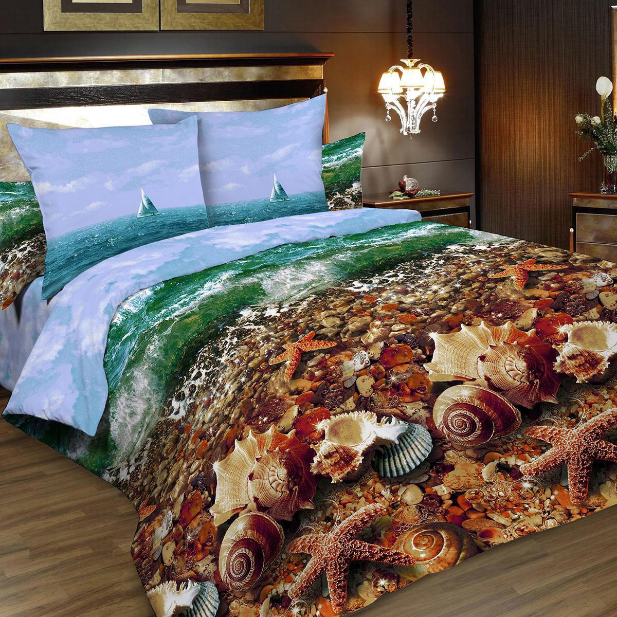 Комплект белья Letto Традиция, евро, наволочки 70x70, цвет: голубой, коричневый комплект постельного белья michelle home textiles kdbb