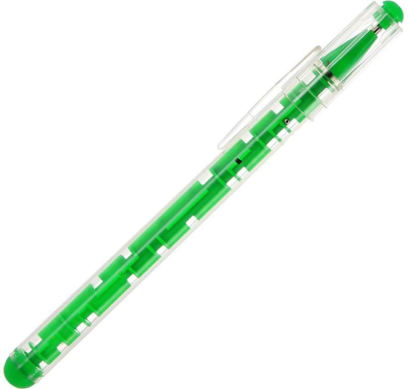 Эврика Ручка шариковая Лабиринт цвет корпуса зеленый92940Шариковая ручка в корпусе, выполненном в виде небольшой головоломки. Внутри лабиринта находится металлический шарик, который необходимо вывести к цели, доставить в специальное отверстие. Сложность заключается не только в запутанных извилистых путях, но и в наличии отверстий-ловушек, сквозь которые шарик может провалиться на противоположную сторону ручки, также оформленную в виде лабиринта.Стержень сменный, цвет чернил - синий.