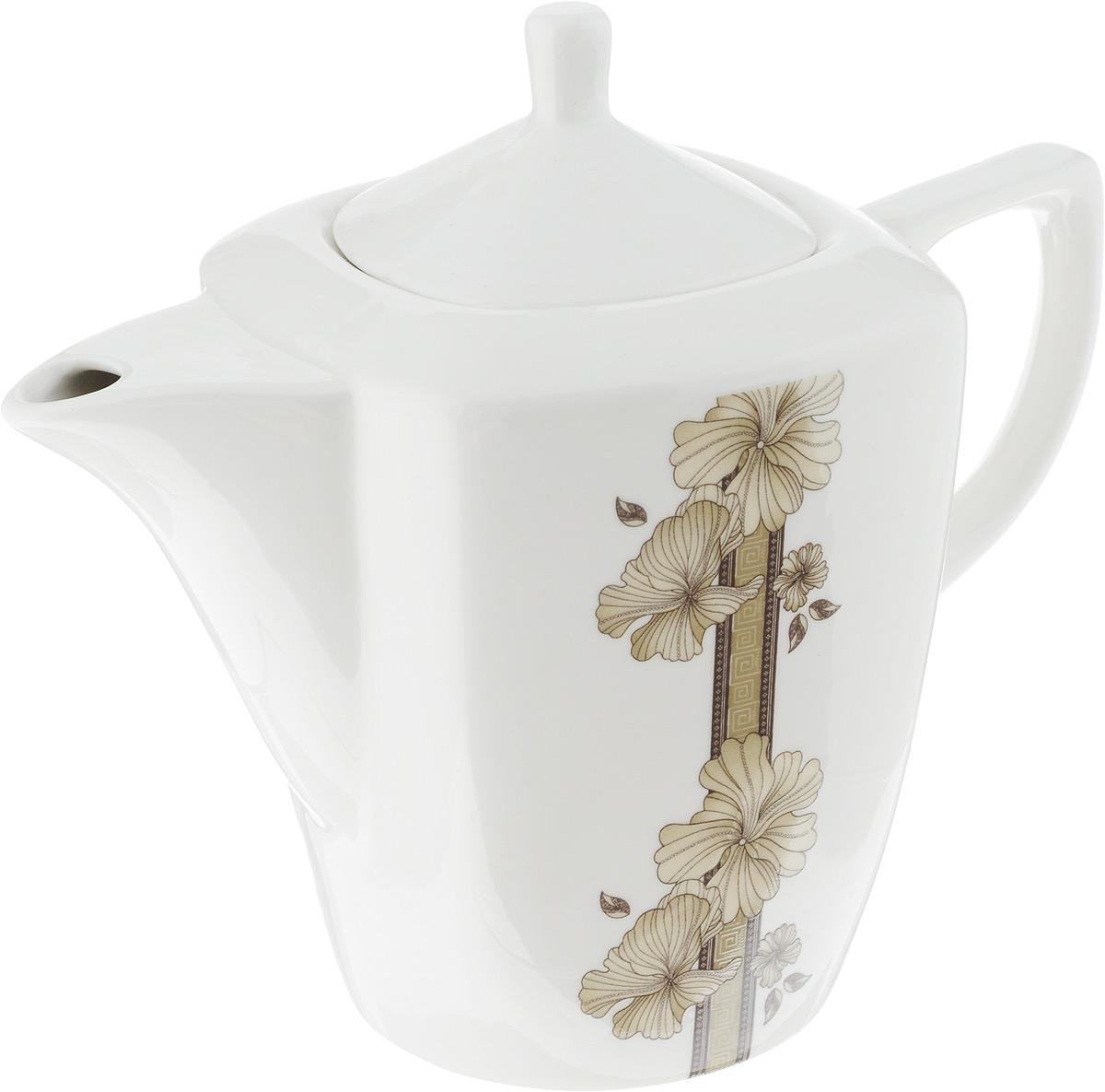 Чайник заварочный София, 1,1 л216710Заварочный чайник София изготовлен из высококачественного фарфора. Глазурованное покрытие обеспечивает легкую очистку. Изделие прекрасно подходит для заваривания вкусного и ароматного чая, а также травяных настоев. Оригинальный дизайн сделает чайник настоящим украшением стола. Он удобен в использовании и понравится каждому.Можно мыть в посудомоечной машине и использовать в микроволновой печи. Диаметр чайника (по верхнему краю): 7 см. Высота чайника (без учета крышки): 14 см. Высота чайника (с учетом крышки): 19 см.