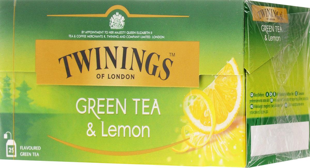 Twinings Lemon чай зеленый в пакетиках, 25 шт01854Twinings Lemon - это уникальная смесь сортов зеленого чая с добавлением высушенной лимонной цедры. Подарит ощущение бодрости на весь день.Всё о чае: сорта, факты, советы по выбору и употреблению. Статья OZON Гид