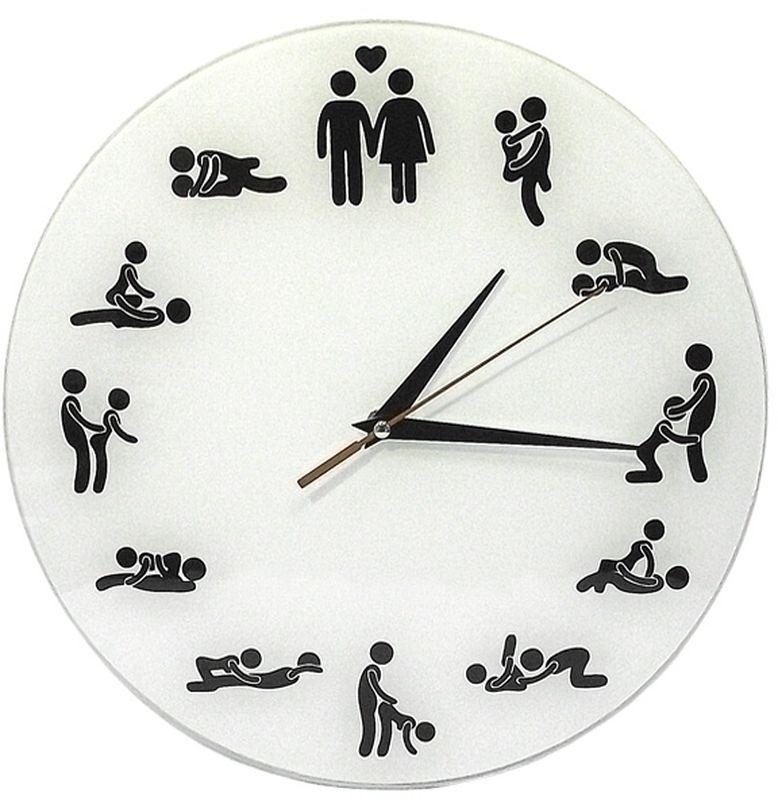 """Настенные часы """"Камасутра"""" своим необычным дизайном подчеркнут стильность и оригинальность интерьера вашего дома. Часы имеют тикающий механизм.Циферблат часов выполнен из стекла белого цвета, тыльная сторона окрашена многослойным нанесением.Часы оснащены тремя стрелками - часовой, минутной и секундной. Часы работают от одной батарейки типа АА (не входит в комплект). Диаметр часов: 28 см. Глубина часов: 4 см. Такие часы послужат отличным подарком для людей с чувством юмора."""