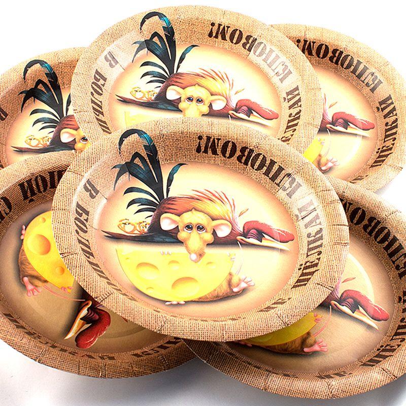 Набор одноразовых тарелок Эврика В большой семье, диаметр 19 см, 6 шт