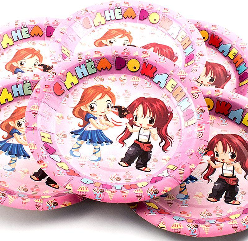 Набор одноразовых тарелок Эврика С днем рождения, диаметр 19 см, 6 шт