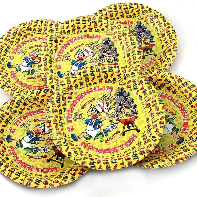 Набор тарелок Эврика С пламенным приветом, 6 шт96965Набор картонных тарелочек с красочным рисунком. Количество тарелочек в наборе 6 шт, диаметр тарелочки 19 см, глубина 2.5см.