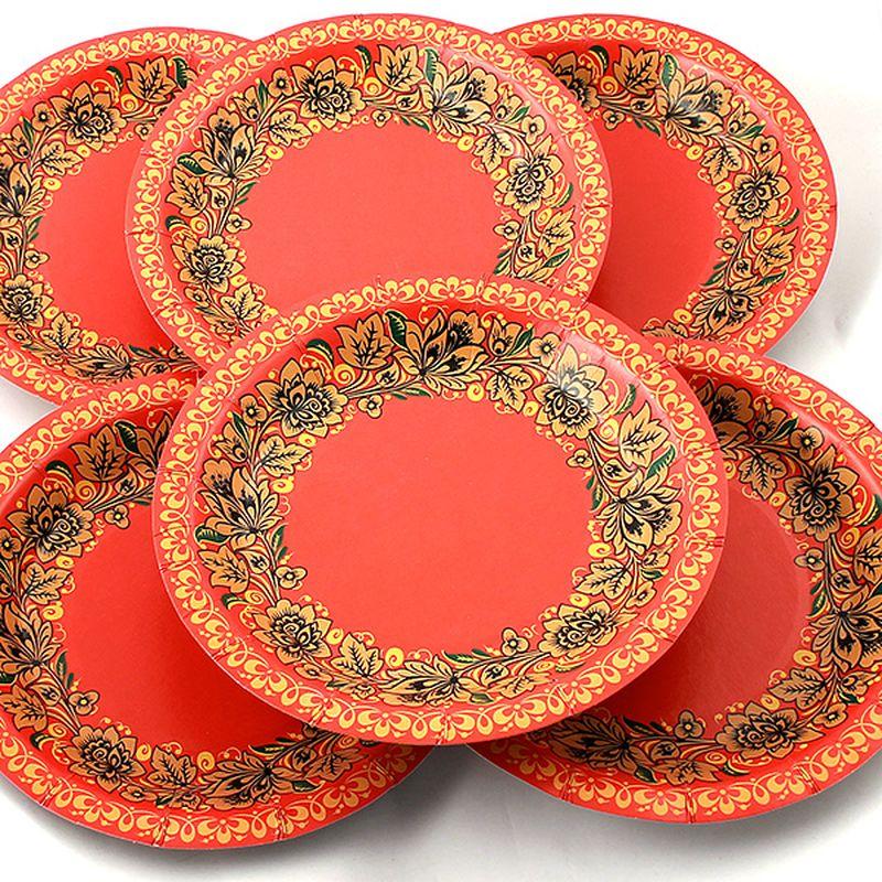 Набор тарелок Эврика Красна с цветами, 6 шт набор одноразовых тарелок эврика с пламенным приветом диаметр 19 см 6 шт