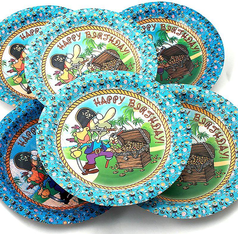 """Набор одноразовых тарелок Эврика """"Пират"""" состоит из 6 круглых тарелок, выполненных из картона и предназначенных для одноразового использования. Изделия декорированы красочными рисунками.Одноразовые тарелки будут незаменимы при поездках на природу, пикниках и других мероприятиях. Они не займут много места, легки и самое главное - после использования их не надо мыть. Диаметр тарелки: 19 см. Глубина тарелки: 2,5 см."""