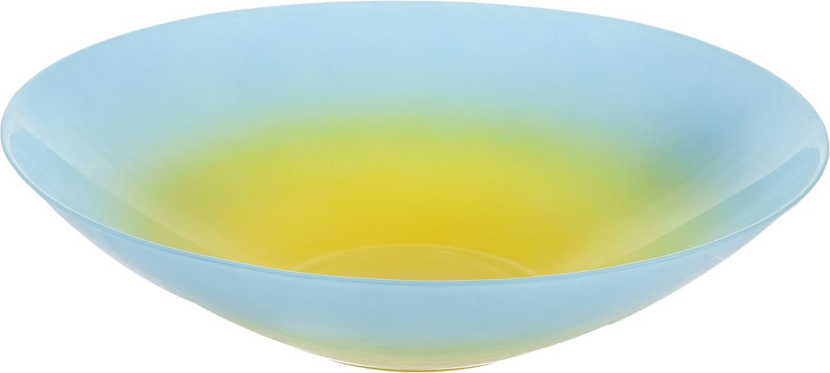 Салатник NiNaGlass Голландия, цвет: желтый, голубой, диаметр 30 см83-012-Ф30 ГОЛСалатник NiNaGlass Голландия выполнен из высококачественного стекла. Салатник идеален для сервировки салатов, овощей, ягод, фруктов, гарниров и многого другого. Он отлично подойдет как для повседневных, так и для торжественных случаев.Такой салатник прекрасно впишется в интерьер вашей кухни и станет достойным дополнением к кухонному инвентарю. Диаметр салатника (по верхнему краю): 30 см. Высота стенки: 7,5 см.