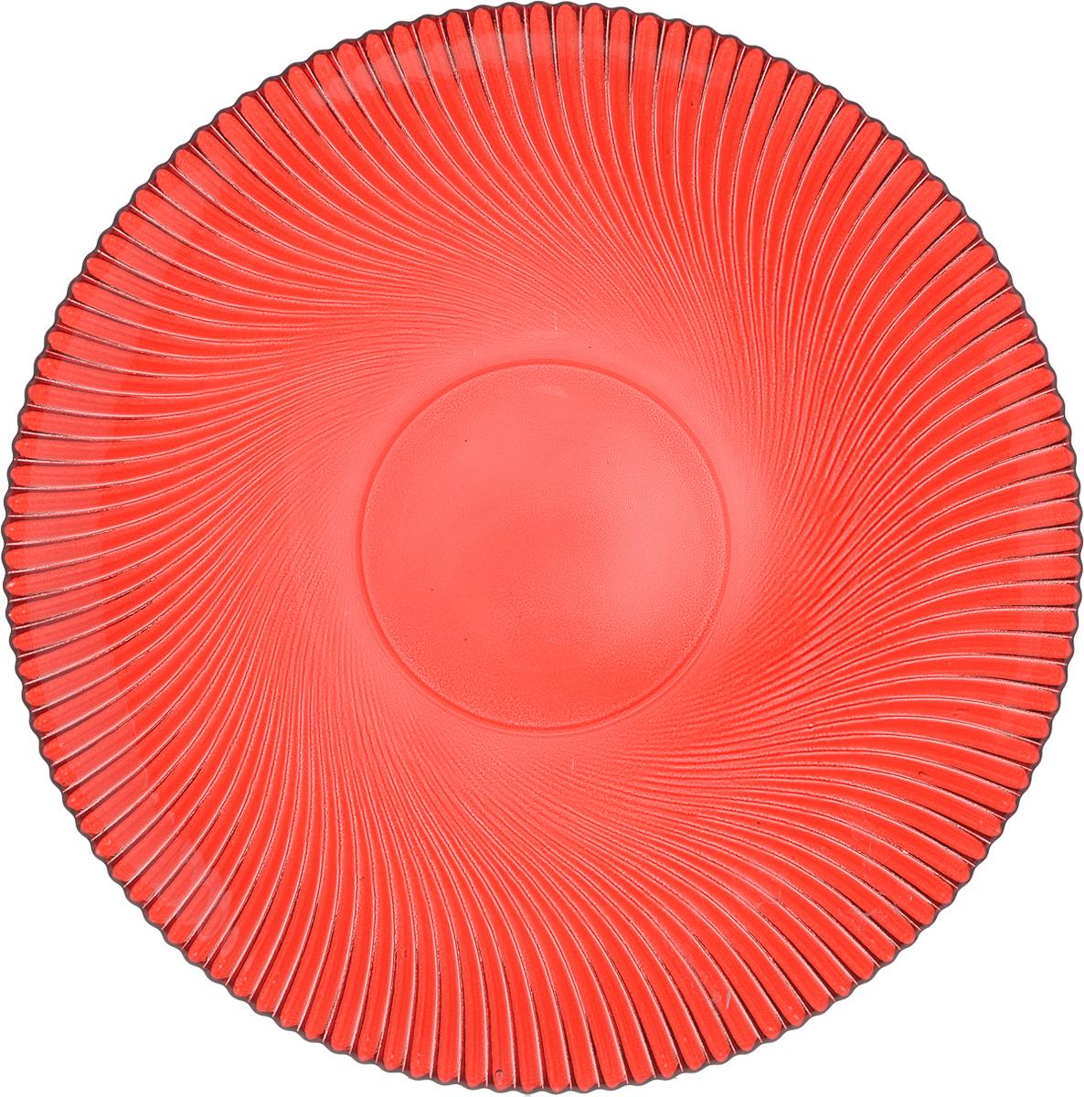 Тарелка NiNaGlass Альтера, цвет: рубиновый, диаметр 26 см83-067-ф260 РУБТарелка NiNaGlass Альтера выполнена из высококачественного стекла и оформлена красивым рельефным узором. Тарелка идеальна для подачи вторых блюд, а также сервировки закусок, нарезок, десертов и многого другого. Она отлично подойдет как для повседневных, так и для торжественных случаев.Такая тарелка прекрасно впишется в интерьер вашей кухни и станет достойным дополнением к кухонному инвентарю.