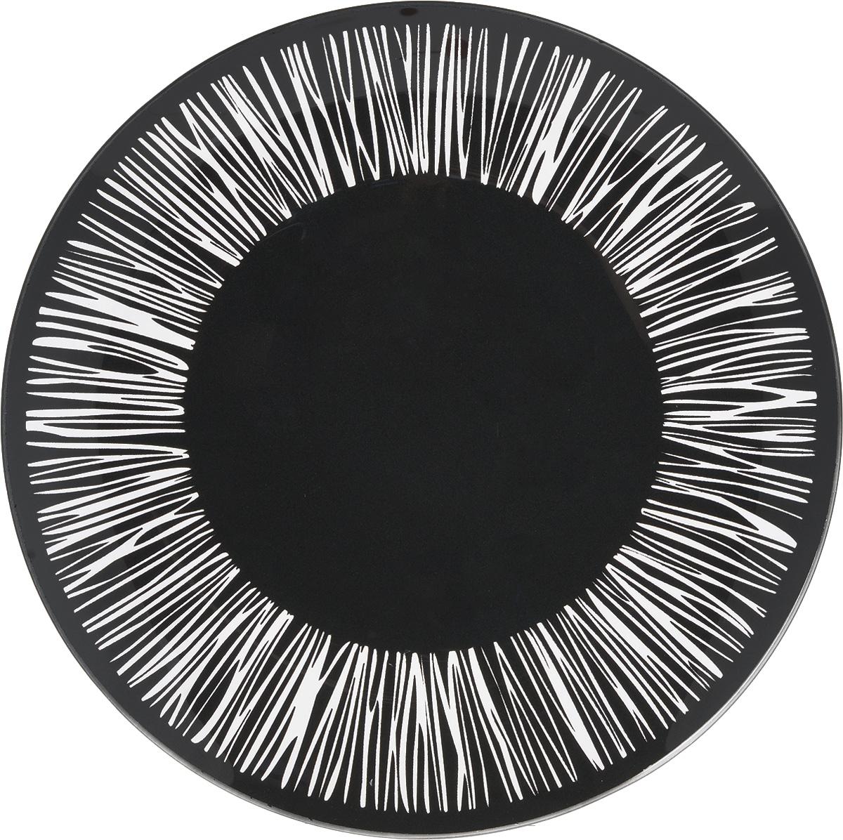 Тарелка NiNaGlass Витас, цвет: черный, диаметр 26 см85-260-016/чернТарелка NiNaGlass Витас изготовлена извысококачественного стекла. Изделие декорированооригинальным дизайном. Такая тарелка отлично подойдет вкачестве блюда, она идеальна для сервировки закусок,нарезок, горячих блюд. Тарелка прекрасно дополнитсервировку стола и порадует вас оригинальным дизайном. Диаметр тарелки: 26 см. Высота тарелки: 2,5 см.