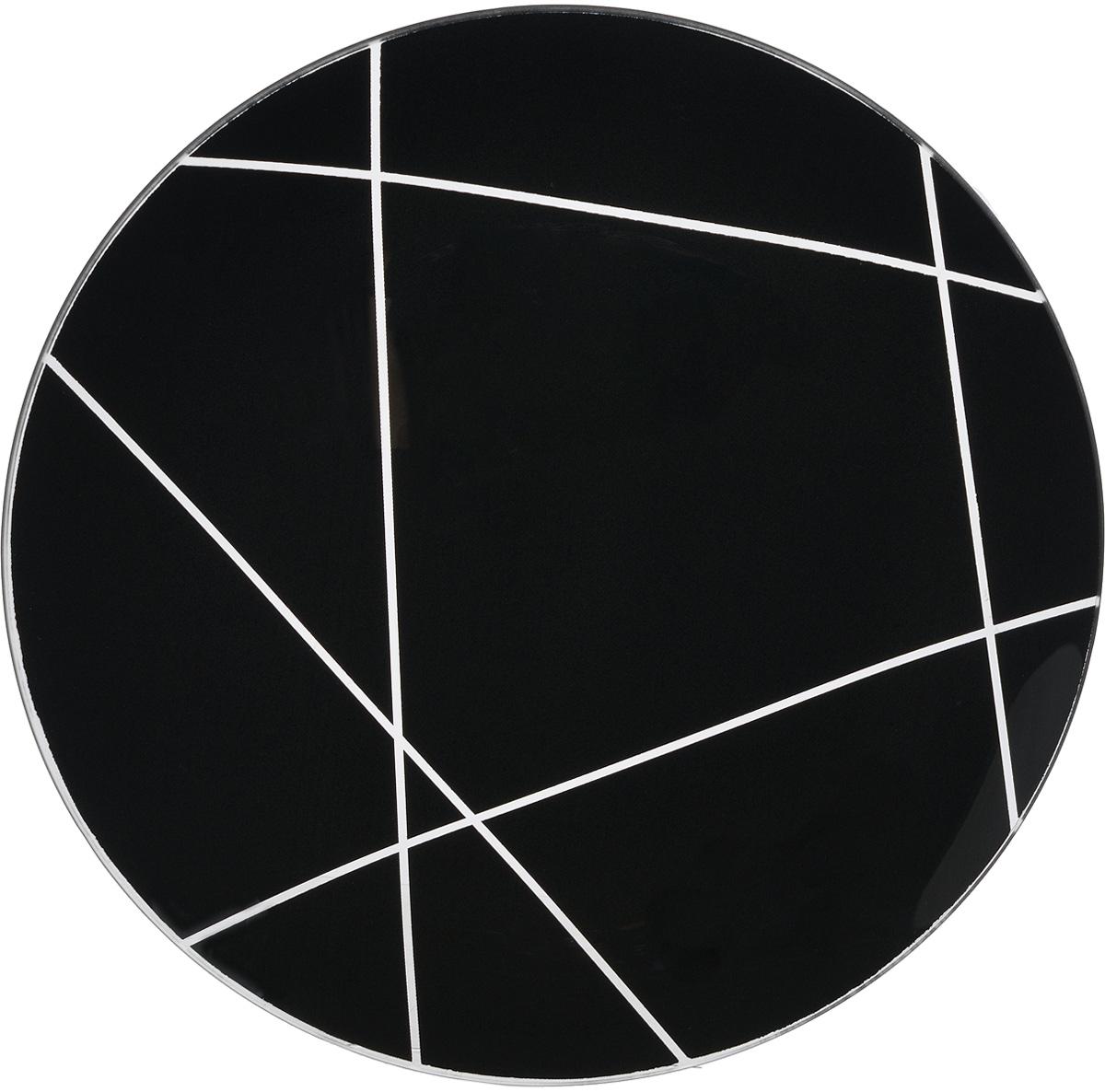 Тарелка NiNaGlass Контур, цвет: черный, диаметр 26 см85-260-002/чернТарелка NiNaGlass Виктория выполнена из высококачественного стекла и оформлена красивым прозрачным геометрическим принтом. Тарелка идеальна для подачи вторых блюд, а также сервировки закусок, нарезок, салатов, овощей и фруктов. Она отлично подойдет как для повседневных, так и для торжественных случаев.Такая тарелка прекрасно впишется в интерьер вашей кухни и станет достойным дополнением к кухонному инвентарю.
