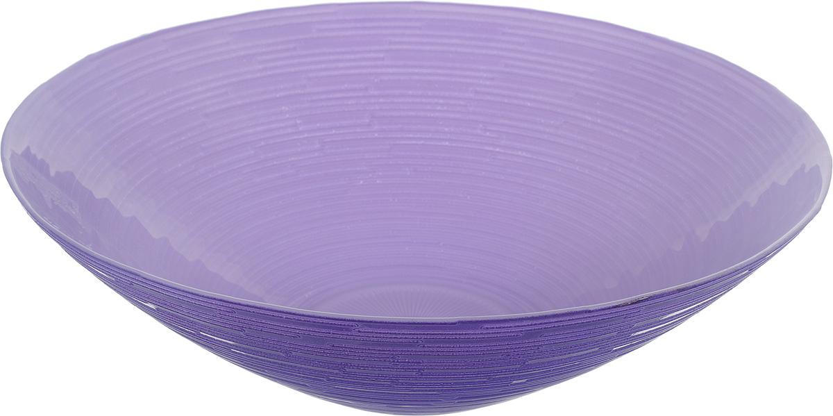Салатник NiNaGlass Риски, цвет: фиолетовый, диаметр 25,5 см83-012-Ф25 РСИР-ФСалатник NiNaGlass Риски выполнен из высококачественного стекла. Внешние стенки оформлены рельефным узором. Салатник идеален для сервировки салатов, овощей, ягод, фруктов, гарниров и многого другого. Он отлично подойдет как для повседневных, так и для торжественных случаев.Такой салатник прекрасно впишется в интерьер вашей кухни и станет достойным дополнением к кухонному инвентарю. Диаметр салатника (по верхнему краю): 25,5 см. Высота стенки: 7,5 см.