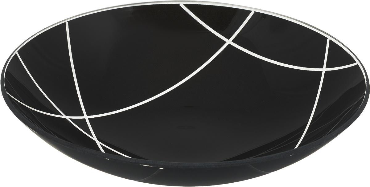 Тарелка NiNaGlass Контур, цвет: черный, диаметр 22 см85-225-002/чернТарелка NiNaGlass Контур выполнена из высококачественного стекла. Она прекрасно впишется в интерьер вашей кухни и станет достойным дополнениемк кухонному инвентарю. Тарелка NiNaGlass Контур подчеркнет прекрасный вкус хозяйки и станет отличным подарком.Диаметр тарелки: 22 см.Высота: 5 см.