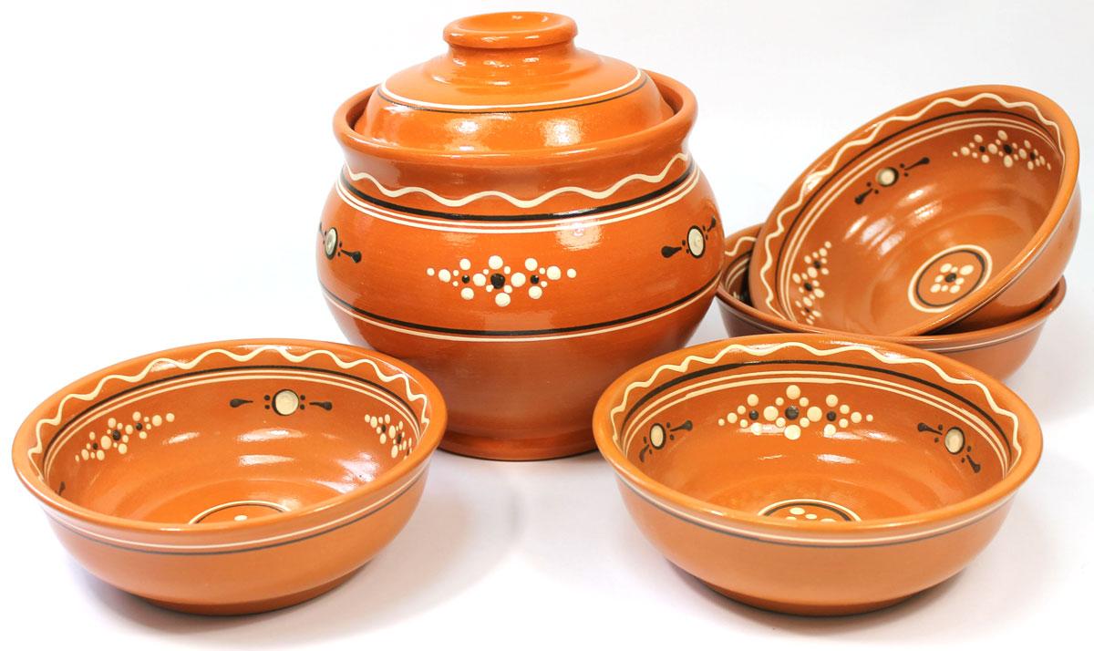 """Набор для супа Ломоносовская керамика """"Оятские мотивы"""" , 5 предметов"""