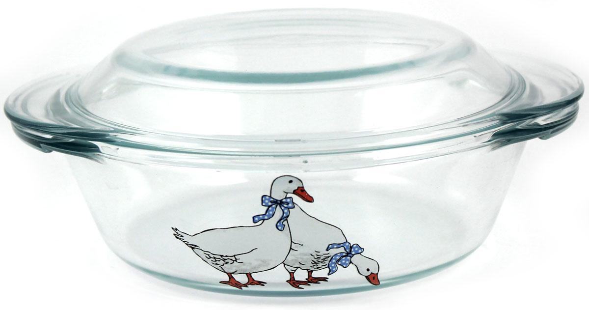 Кастрюля Ломоносовская керамика Гуси, 1 л. КГ2-1 посуда для микроволновой печи ruges кастрюля для микроволновки лок