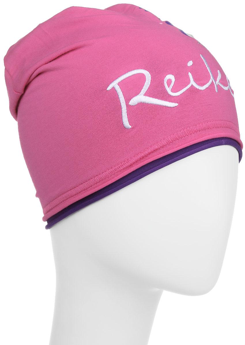 Шапка для девочки Reike Цветок, цвет: фуксия. RKNSS17-FLW1. Размер 50RKNSS17-FLW1_fuchsiaСтильная шапка для девочки Reike Цветок, изготовленная из качественного хлопкового материала, отлично впишется в гардероб юной модницы. Модель с контрастным подкладом оформлена цветочным принтом со стразами и вышивкой в стиле серии. Уважаемые клиенты!Размер, доступный для заказа, является обхватом головы.