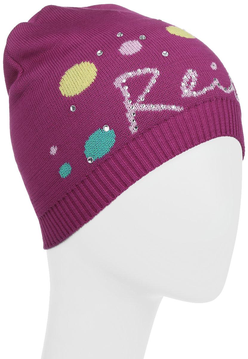 Шапка для девочки Reike Принцесса, цвет: фуксия. RKNSS17-CRN1-YN. Размер 52RKNSS17-CRN1-YN_fuchsiaСтильная шапка для девочки Reike Принцесса, изготовленная из натурального хлопка, отлично впишется в гардероб юной модницы. Модель двойной вязки оформлена резинкой и декорирована ярким принтом со стразами в стиле серии.Уважаемые клиенты!Размер, доступный для заказа, является обхватом головы.
