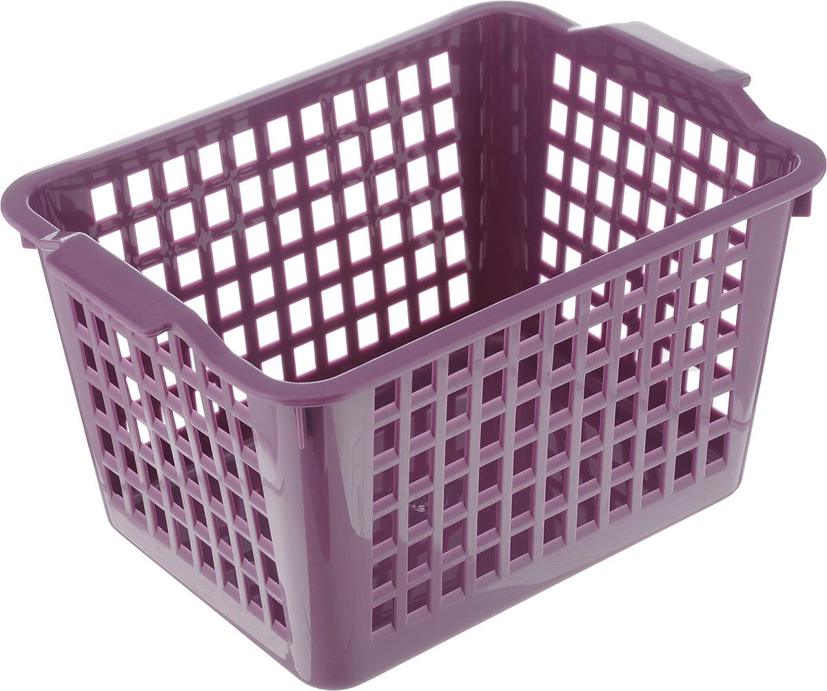 Корзинка универсальная Econova, цвет: фиолетовый, 21 х 14,6 х 11,3 см718340_фиолетовыйУниверсальная корзинка Econova изготовлена из высококачественного пластика с перфорированными стенками и сплошным дном. Такая корзинка непременно пригодится в быту, в ней можно хранить кухонные принадлежности, специи, аксессуары для ванной и другие бытовые предметы, диски и канцелярию.