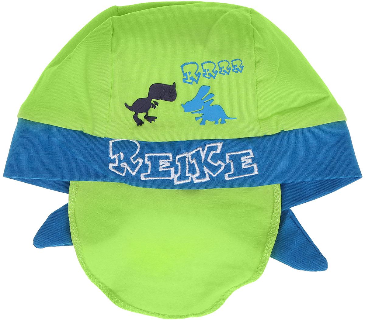 Бандана для мальчика Reike Динозаврики, цвет: зеленый, голубой. RKNSS17-DIN8. Размер 46RKNSS17-DIN8_green/blueБандана для мальчика Reike Динозаврики, изготовленная из натурального хлопка, станет стильным аксессуаром во время прогулок и игр на свежем воздухе, защищая голову малыша от солнца и ветра. Бандана оформлена принтом в стиле серии и вышитой надписью с названием бренда и фиксируется на голове широкими завязками.Уважаемые клиенты!Размер, доступный для заказа, является обхватом головы.