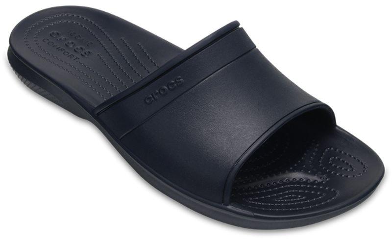 Шлепанцы Crocs Classic Slide, цвет: темно-синий. 204067-410. Размер 4-6 (36/37)204067-410Комфортные шлепанцы Classic Slide от Crocs созданы из уникального инновационного полимера Croslite. Материал под воздействием температуры тела позволяет обуви принимать форму ноги и повышает её ортопедические характеристики. Подошва имеет рельефный протектор, который обеспечивает надежное сцепление с поверхностью.