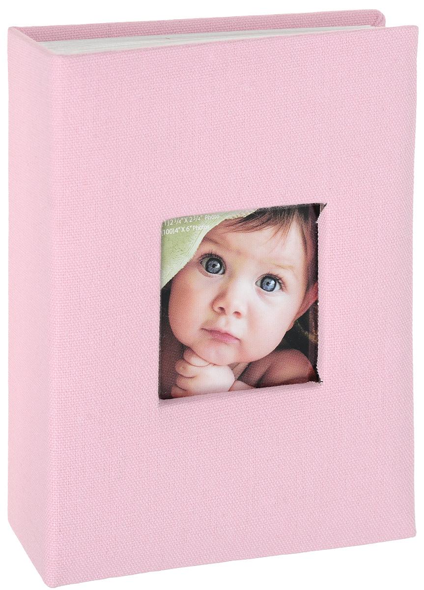 Фотоальбом Окно, цвет: розовый, 100 фотографий, 10 х 15 см фотоальбом 6171