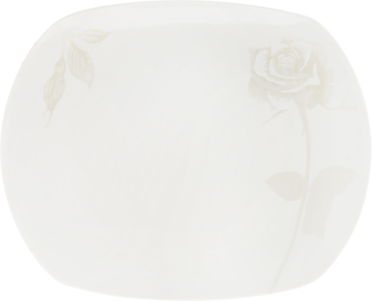 Блюдо Жемчужная роза, 30 x 24,5 см216697Оригинальное блюдо Жемчужная роза, изготовленное из фарфора с глазурованным покрытием, прекрасно подойдет для подачи нарезок, закусок и других блюд. Оно украсит ваш кухонный стол, а также станет замечательным подарком к любому празднику.Размер блюда: 30 x 24,5 см.
