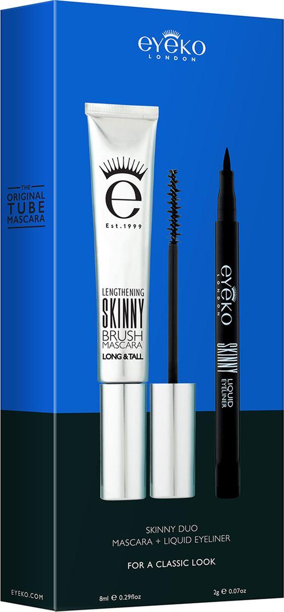 Eyeko Набор для макияжа глаз Skinny (Удлиняющая тушь для ресниц Skinny Brush тон черный, 8 мл, Подводка для глаз Skinny тон черный, 2 гр)9606451Набор: тушь Skinny и подводка Skinny