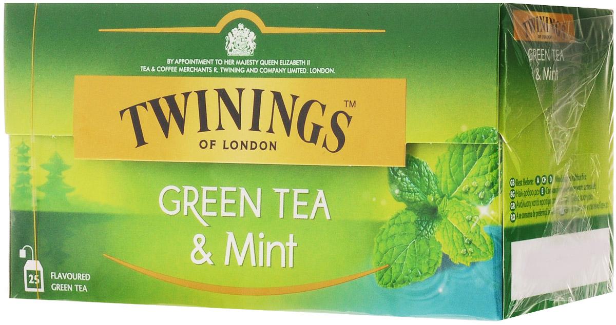 Twinings Mint чай зеленый в пакетиках, 25 шт070177173203Чай Twinings - это истинно английский напиток премиум-класса, который выпускается одним из лидеров международного рынка чая.Компания была основана в 1706 Томасом Твайнингом, который открыл свой частный чайный салон в Лондоне, на улице Стрэнд.