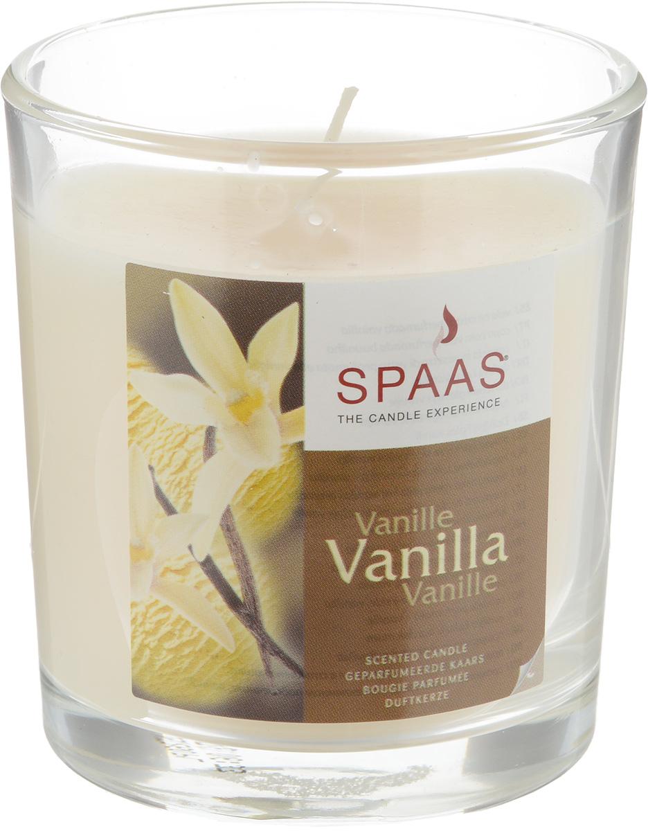 """Наливная ароматизированная свеча Spaas """"Ваниль"""" в стеклянном подсвечнике в виде стакана наполнит дом приятным ароматом. Свеча изготовлена из парафина с добавлением натуральных красок и ароматизаторов, не выделяющих вредные вещества при горении. Фитиль выполнен из натурального хлопка.  Оригинальная свеча с тонким, нежным ароматом добавит романтики в ваш дом и создаст неповторимую атмосферу уюта, тепла и нежности. Такая свеча не только поможет дополнить интерьер вашей комнаты, но и станет отличным подарком. Время горения: 25 ч."""