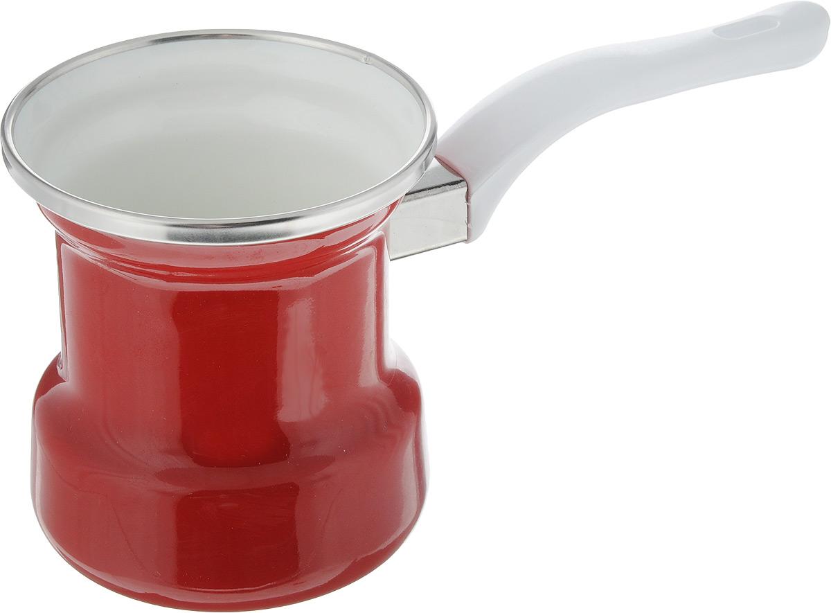 Турка эмалированная Elros Danko, цвет: белый, красный, 400 мл4602807743911Турка Elros Danko прекрасно подходит для приготовления настоящего кофе на плите. Изготовлена из стали с эмалированным покрытием. Изделие оснащено эргономичной ручкой. Такая турка органично впишется в интерьер вашей кухни и станет замечательным подарком к любому случаю. Подходит для всех видов плит. Можно мыть в посудомоечной машине. Диаметр (по верхнему краю): 9 см. Высота стенки: 10 см. Длина ручки: 12,5 см.