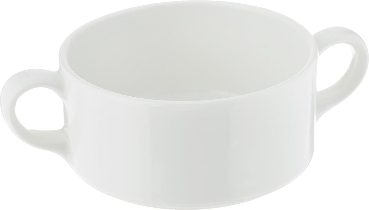 """Бульонница Ariane """"Прайм"""", изготовленная из высококачественного фарфора, оснащена двумя ручками для удобной переноски. Такая стильная бульонница украсит сервировку вашего стола и подчеркнет прекрасный вкус хозяина, а также станет отличным подарком.Можно мыть в посудомоечной машине и использовать в СВЧ.Диаметр бульонницы (по верхнему краю): 10,5 см.Высота бульонницы: 5 см.Ширина бульонницы (с учетом ручек): 15,5 см."""