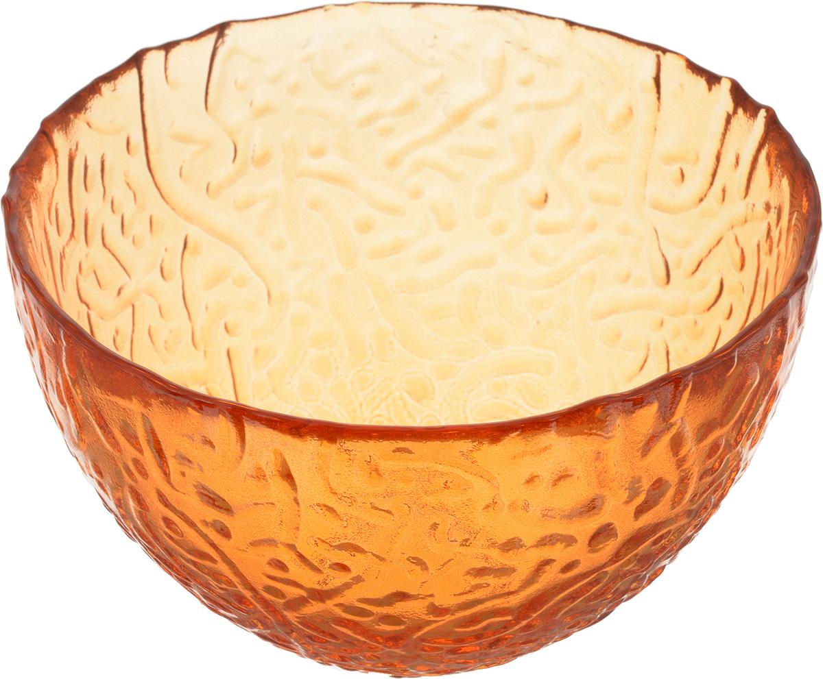 Салатник NiNaGlass Ажур, цвет: оранжевый, диаметр 12 см83-040-ф120 ОРЖСалатник NiNaGlass Ажур выполнен из высококачественного стекла и имеет рельефную внешнюю поверхность. Такой салатник украсит сервировку вашего стола и подчеркнет прекрасный вкус хозяйки, а также станет отличным подарком.Диаметр салатника (по верхнему краю): 12 см. Высота салатника: 7,5 см.