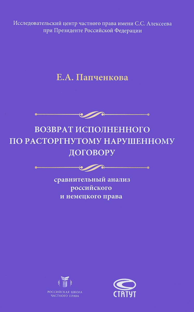 Е. А. Папченкова Возврат исполненного по расторгнутому нарушенному договору. Сравнительный анализ российского и немецкого права фату хива возврат к природе