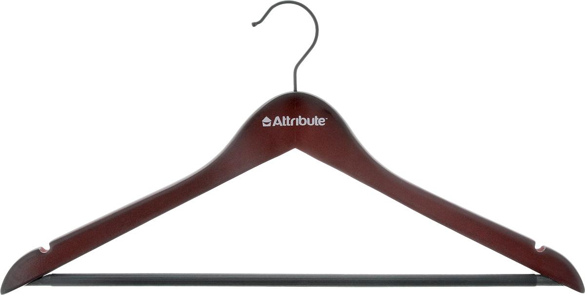 Вешалка универсальная Attribute Redwood, изогнутая, длина 44 смAHR221Универсальная вешалка Attribute Redwood, изготовленная из дерева и стали, предназначена для рубашек, платьев и другой одежды. Вешалка снабжена двумя небольшими выемками, а также перекладиной с пластиковым покрытием. Вешалка - это незаменимый аксессуар для того, чтобы ваша одежда всегда оставалась в хорошем состоянии. Длина вешалки: 44 см.
