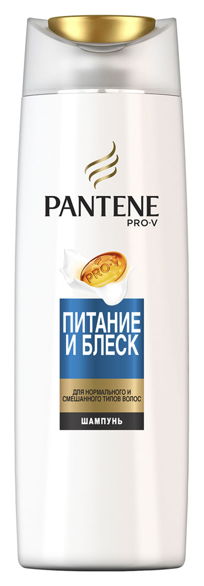 Pantene Pro-V Шампунь Питание и блеск, для нормальных волос, 400 мл81601060Шампунь PantenePro-V Питание и блеск бережно очищает и питает нормальные волосы и волосы смешанного типа, а также восстанавливает естественный баланс, придавая им красивый здоровый вид от корней до кончиков. Для наилучших результатов используйте с бальзамом-ополаскивателем и средствами для ухода за волосами PantenePro-V Питание и блеск.