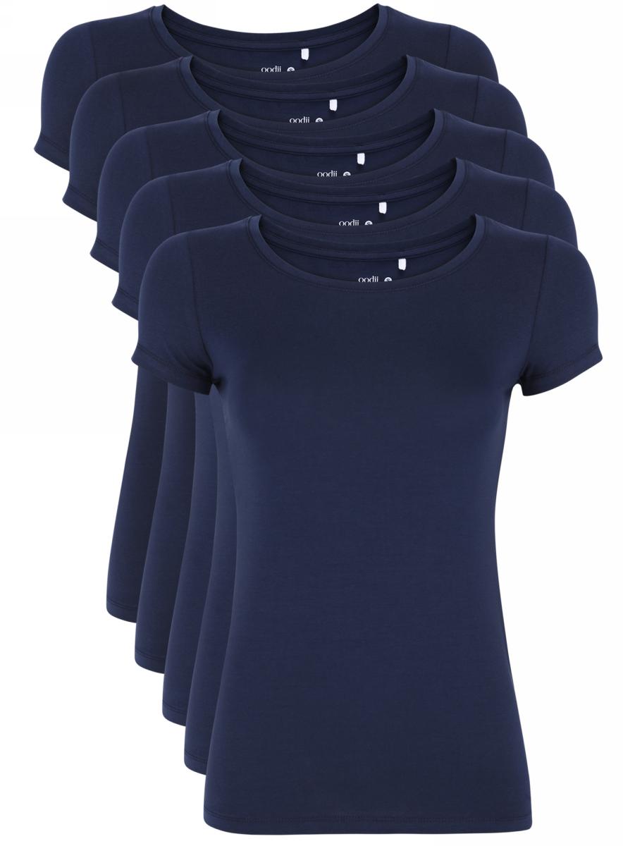 Футболка жен oodji Ultra, цвет: темно-синий, 5 шт. 14701005T5/46147/7900N. Размер M (46)14701005T5/46147/7900NЖенская футболка выполнена из эластичной хлопковой ткани. Модель с круглым вырезом горловины и стандартными короткими рукавами. В комплект входит пять футболок одинакового цвета.