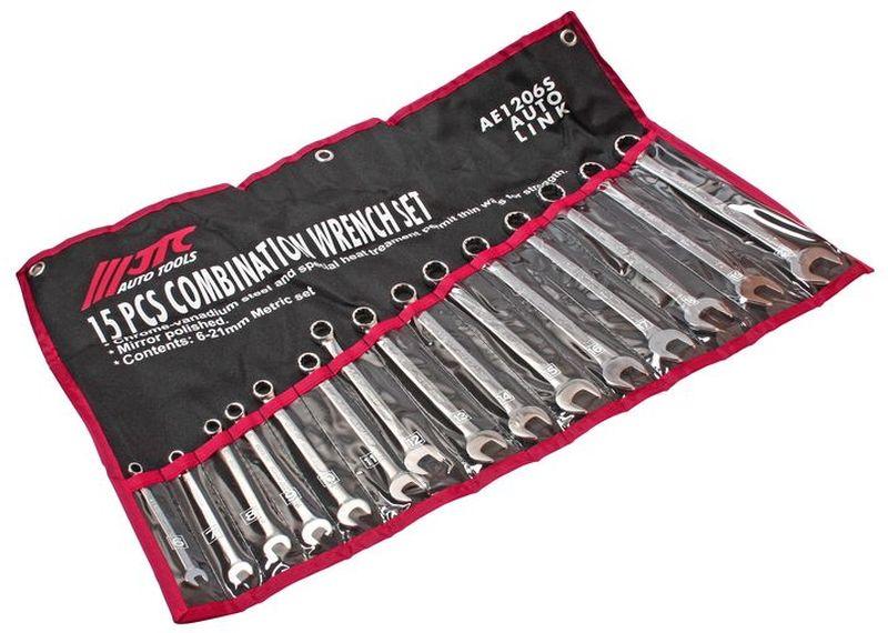 Набор комбинированных ключей JTC, 15 предметов. JTC-AE1206SJTC-AE1206SНабор комбинированных ключей JTC станет отличным помощникоммонтажнику или владельцу авто. Этот набор обеспечит надежную фиксацию награнях крепежа. Ключи изготовлены из хром-ванадиевой стали. При производстветакже использовалась термообработка стали, повышающаяпрочность. Зеркальная полировка улучшает внешний вид и исключаетвозможность появления трещин и металлических заусенцев.Набор упакованв компактный тряпичный планшет. В набор входят:- сумка для ключей;- ключи: 6, 7, 8, 9, 10, 11, 12, 13, 14, 15, 16, 17, 18, 19, 21 мм.