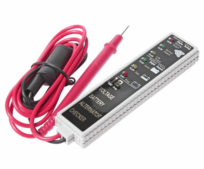 Тестер для аккумуляторной батареи и генератора JTC. JTC-J027JTC-J027Тестер для аккумуляторной батареи и генератора JTC - прост и удобен в применении, имеет магнит на задней панели для возможности освобождения обеих рук. Устройство оснащено световыми индикаторами состояния аккумуляторной батареи: полная зарядка, частичная разрядка, полная разрядка. Также аппарат отображает показатели выходной мощности генератора.Технические характеристики:- на передней панели имеется информационная шкала с шестью разноцветными светодиодами: 5,0 –12,0 – 12,5 – 13,0 – 13,5 – 14,0 V.- корпус индикатора – брызгозащитный и не боится вибраций.- тип измеряемого тока: постоянный.- диапазон измеряемого напряжения, В: 5,0-14,0.Погрешность, В: 0,03