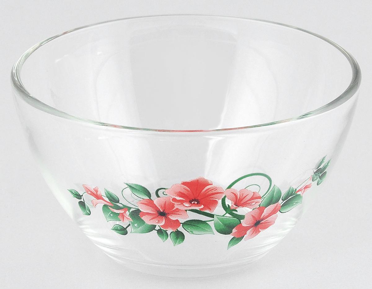 """Салатник OSZ """"Цветочная Феерия 1"""" изготовлен из бесцветного стекла и украшен ярким рисунком. Идеально подходит для сервировки стола.Салатник не только украсит ваш кухонный стол и подчеркнет прекрасный вкус хозяйки, но и станет отличным подарком. Объем салатника: 250 мл. Высота салатника: 6 см."""