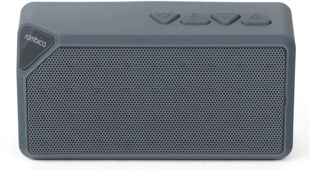 Rombica MySound BT-01 1C, Gray портативная акустическая системаSBT-00011Портативная акустическая система Rombica MySound BT-01 1C совместима со всеми популярными устройствами с поддержкой Bluetooth. Помимо этого она может воспроизводить MP3 и WAV файлы с microSD накопителей.Прием звонков с телефона: громкая связьПрием FM-радио без наушниковСменный аккумуляторBluetooth стандарт: v2.1 + EDRMP3-плеерАккумулятор: 600 мАч / 3.7 ВНаличие сабвуфера