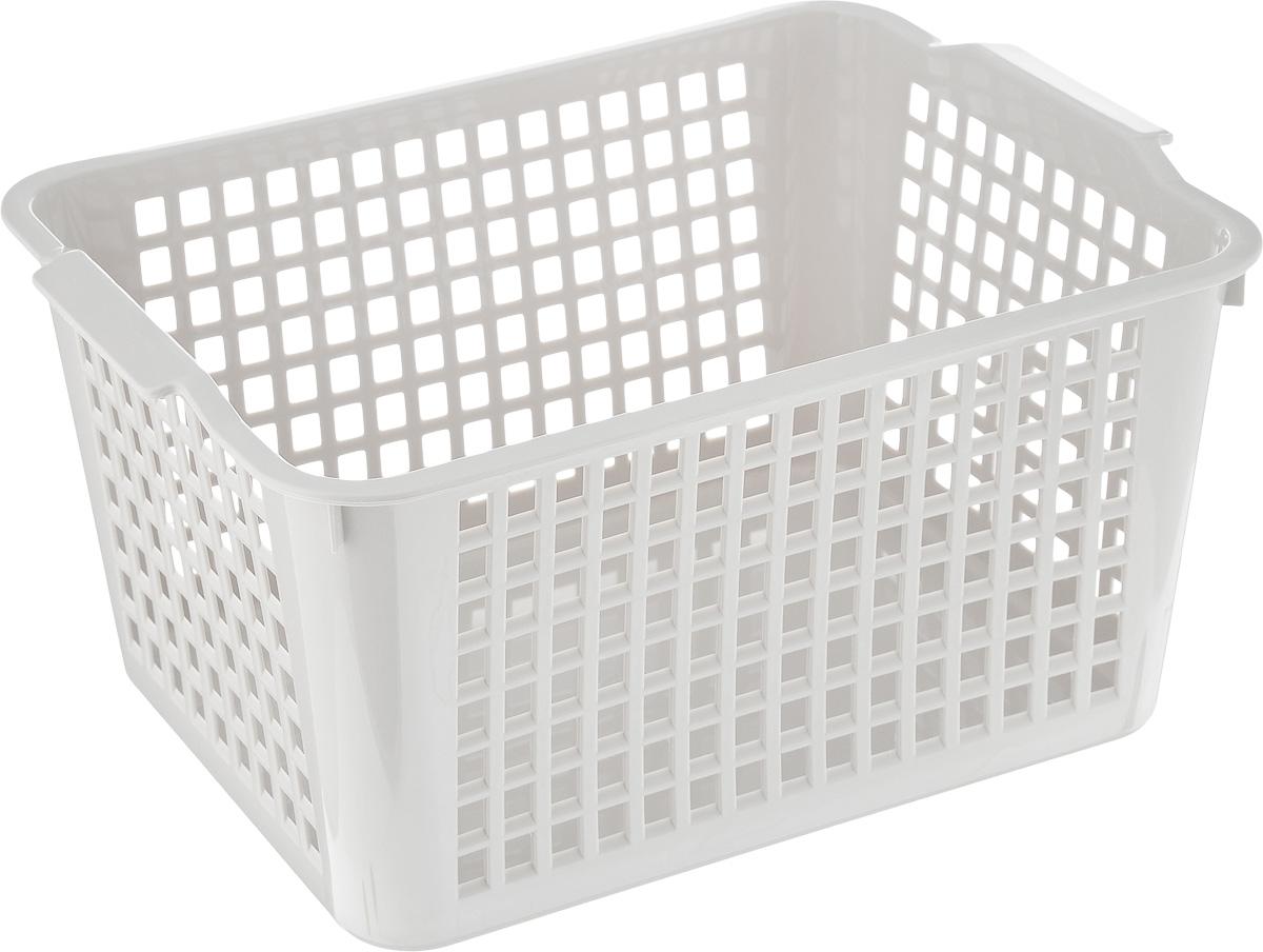 """Корзинка """"Econova"""", изготовленная из высококачественного прочного пластика, предназначена для хранения мелочей в ванной, на кухне, даче или гараже. Изделие оснащено двумя удобными ручками.  Это легкая корзина со сплошным дном, жесткой кромкой и небольшими отверстиями позволяет хранить мелкие вещи, исключая возможность их потери."""