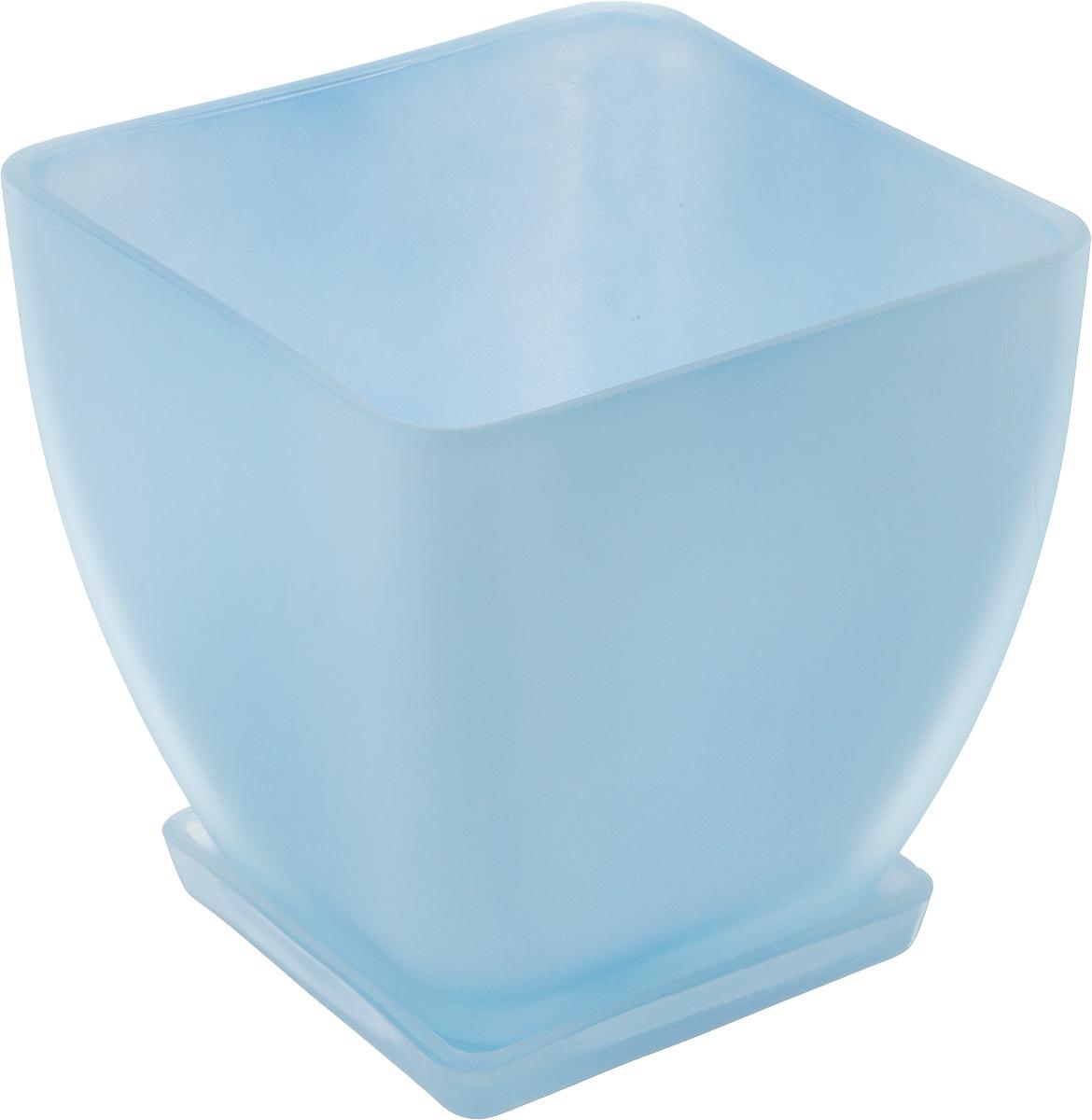 Горшок для цветов NiNaGlass Бетти, с поддоном, цвет: прозразный, голубой, 14,5 х 14,5 см ваза ninaglass дана цвет шоколад высота 16 см