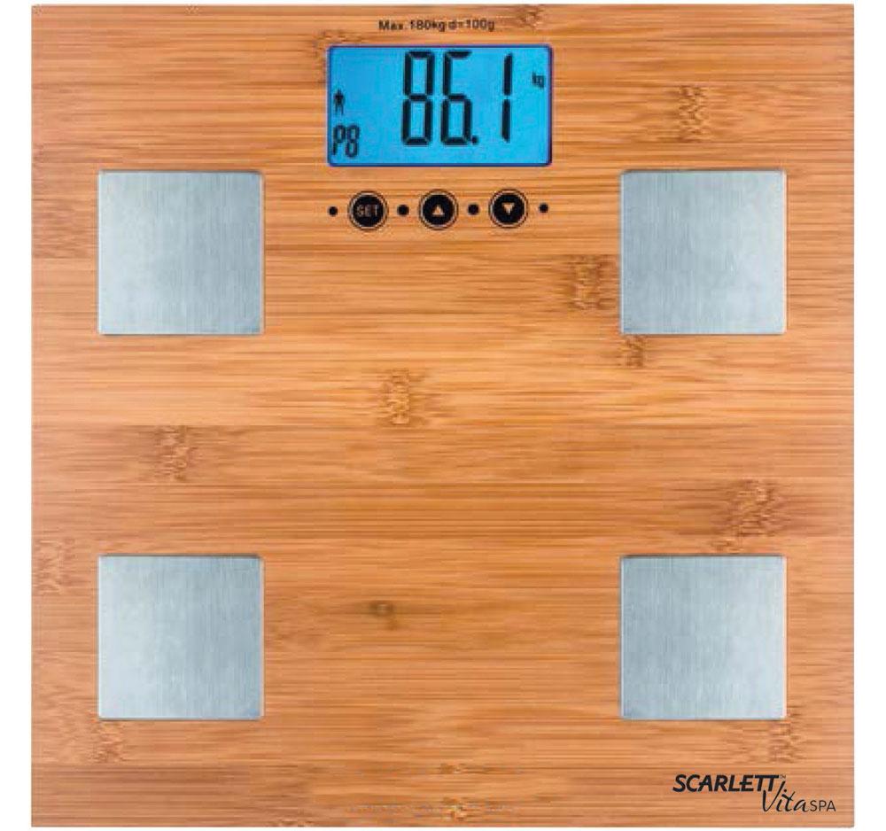Scarlett SC-BS33ED79, Bamboo весы напольныеSC-BS33ED79Напольные весы Scarlett SC-BS33ED79 имеют уникальный дизайн деревянной платформы. Это простой и удобный способ контролировать свой вес. Максимальная нагрузка на данную модель может составлять 180 кг.При перегрузе загорится предупреждающий сигнал. Также специальная индикация сообщит пользователям о необходимости замены элемента питания. Чтобы весы начали работать, достаточно просто встать на них. После взвешивания прибор отключится самостоятельно.Высокочувствительные датчикиИндикатор перегрузкиИндикатор батарейкиЦифровой жидкокристаллический дисплейПрорезиненные ножки