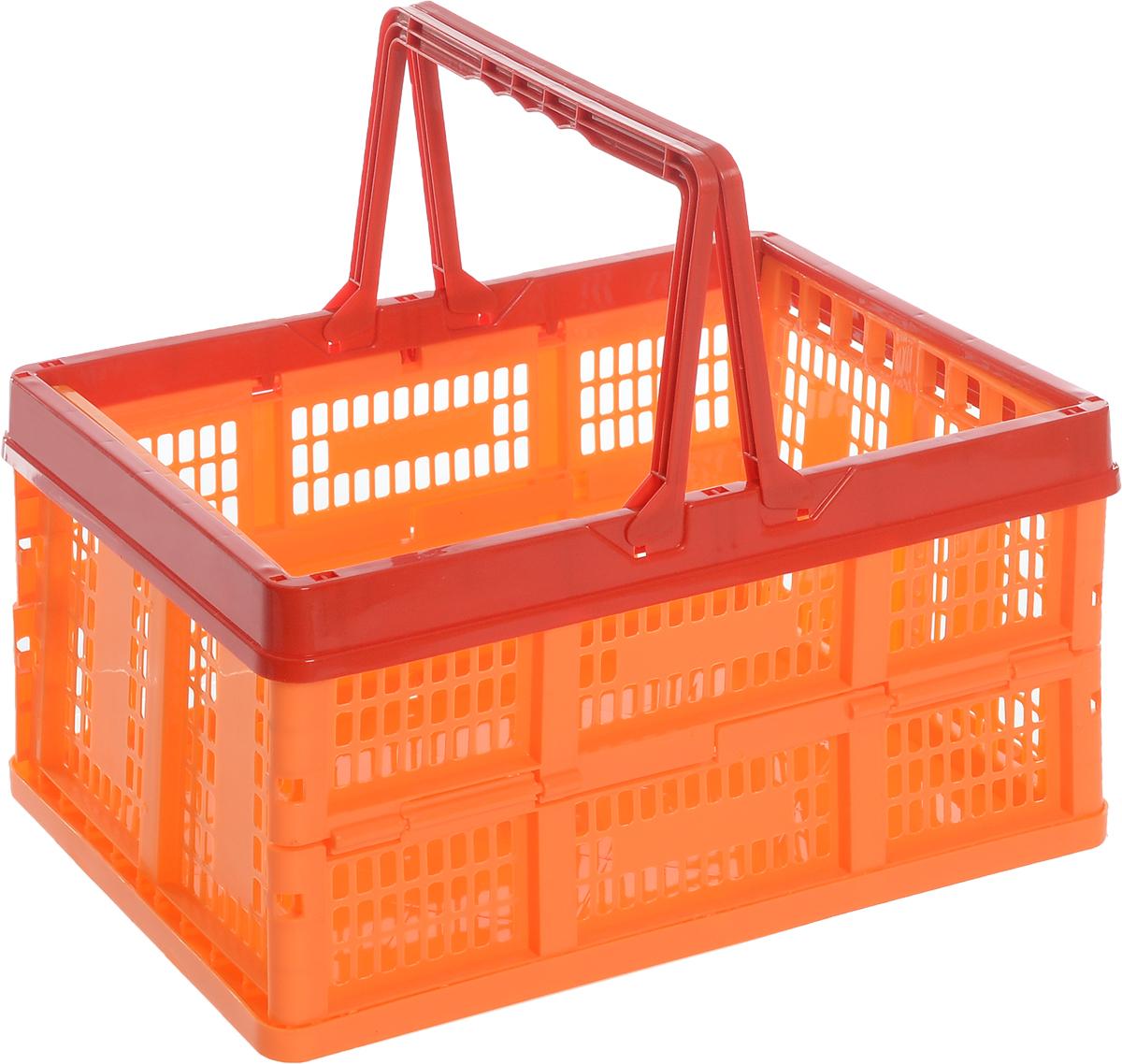 Ящик универсальный Альтернатива, раскладной, цвет: красный, оранжевый, 38,5 х 25,5 х 21 см662034Универсальный ящик Альтернатива изготовлен из высококачественного пластика. Ящик предназначен для хранения и транспортировки овощей. Он оснащен ручками для переноски. При необходимости ящик можно сложить. Ящик компактный, он не займет много места. Универсальный ящик Альтернатива станет незаменимым дома или на даче.Размер ящика (ДхШхВ): 38,5см х 25,5 см х 21 см.
