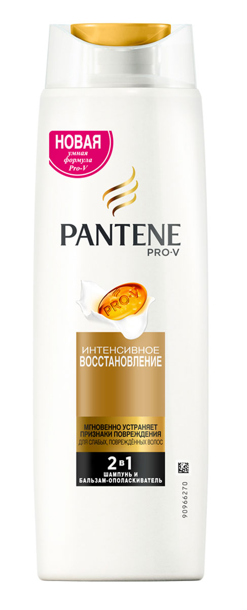 Pantene Pro-V Шампунь 2в1 Интенсивное восстановление, для слабых и поврежденных волос, 400 мл81601103Благодаря обогащенной восстанавливающей формуле с особыми веществами, питающими волосы на микроуровне, шампунь и бальзам-ополаскиватель PantenePro-V 2в1 Интенсивное восстановление помогает удерживать влагу глубоко внутри, что придает волосам здоровый внешний вид и блеск. Шампунь и бальзам-ополаскиватель PantenePro-V 2в1 борется с признаками повреждения и питает поврежденные или сухие волосы, делая их гладкими, сияющими и здоровыми. Для наилучших результатов используйте с бальзамом-ополаскивателем и средствами для ухода за волосами PantenePro-V Интенсивное восстановление.