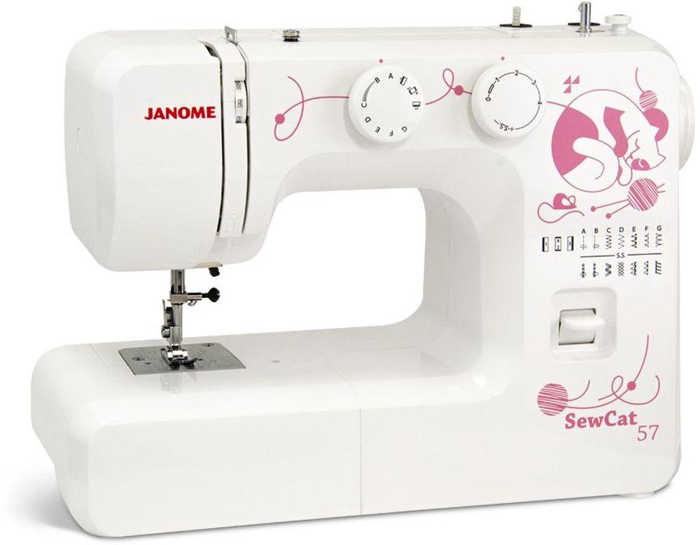 Janome SewCat 57 швейная машинаSewCat 57Швейная машина Janome SewCat 57 отлично подойдет для новичков в швейном деле, так как выполняет все необходимые операции для ремонта и пошива одежды с легкими и средними материалами. Данная модель имеет классическое вертикальное устройство и петлю полуавтомат. Прибор выполняет рабочие и декоративные строчки зигзаг. Несмотря на отсутствие наворотов, качество выполнимых работ приятно вас удивит, такой эффект будет достигнут из-за прочного металлического каркаса.