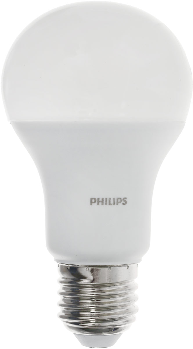 Лампа светодиодная Philips LED bulb, цоколь E27, 13W, 6500KЛампа LEDBulb 13-100W E276500K230VA60/PFСовременные светодиодные лампы LED bulb экономичны, имеют долгий срок службы и мгновенно загораются, заполняя комнату светом. Лампа оригинальной формы и высокой яркости позволяет создать уютную и приятную обстановку в любой комнате вашего дома. Светодиодные лампы потребляют на 87% меньше электроэнергии, чем обычные лампы накаливания, излучая при этом привычный и приятный теплый свет. Срок службы светодиодной лампы LED bulb составляет до 15000 часов, что соответствует общему сроку службы пятнадцати ламп накаливания. Благодаря чему менять лампы приходится значительно реже, что сокращает количество отходов. Напряжение: 220-240 В. Световой поток: 1400 lm. Эквивалент мощности в ваттах: 100 Вт.