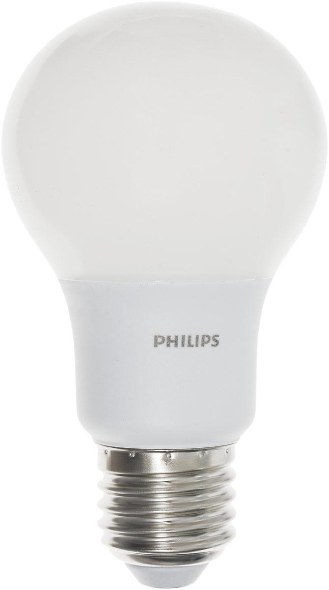 Лампа светодиодная Philips LED bulb, цоколь E27, 9,5W, 3000KЛампа LEDBulb 9.5-70W E273000K230VA60/PFСовременные светодиодные лампы LED bulb экономичны, имеют долгий срок службы и мгновенно загораются, заполняя комнату светом. Лампа оригинальной формы и высокой яркости позволяет создать уютную и приятную обстановку в любой комнате вашего дома. Светодиодные лампы потребляют на 86% меньше электроэнергии, чем обычные лампы накаливания, излучая при этом привычный и приятный теплый свет. Срок службы светодиодной лампы LED bulb составляет до 1000 часов, что соответствует общему сроку службы пятнадцати ламп накаливания. Благодаря чему менять лампы приходится значительно реже, что сокращает количество отходов. Напряжение: 220-240 В. Световой поток: 806 lm. Эквивалент мощности в ваттах: 70 Вт.