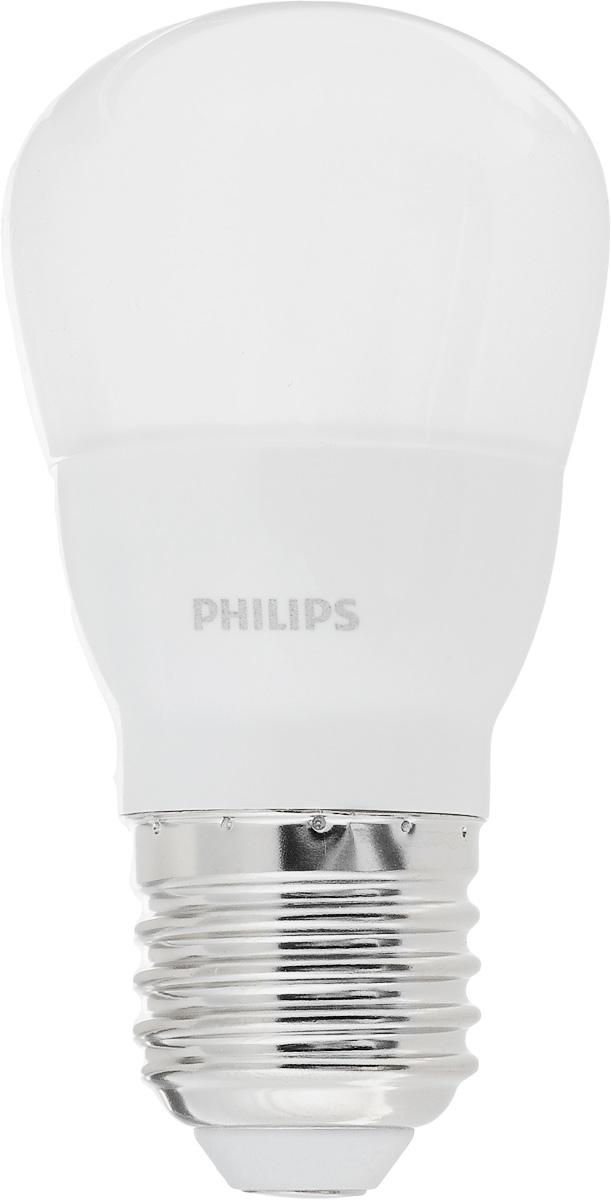 Лампа светодиодная Philips LED bulb, цоколь E27, 4W, 6500KЛампа LEDBulb 4-40W E27 6500K 230V P45Современные светодиодные лампы LED bulb экономичны, имеют долгий срок службы и мгновенно загораются, заполняя комнату светом. Лампа оригинальной формы и высокой яркости позволяет создать уютную и приятную обстановку в любой комнате вашего дома. Светодиодные лампы потребляют на 90% меньше электроэнергии, чем обычные лампы накаливания, излучая при этом привычный и приятный теплый свет. Срок службы светодиодной лампы LED bulb составляет до 15000 часов, что соответствует общему сроку службы пятнадцати ламп накаливания. Благодаря чему менять лампы приходится значительно реже, что сокращает количество отходов. Напряжение: 220-240 В. Световой поток: 350 lm. Эквивалент мощности в ваттах: 40 Вт.